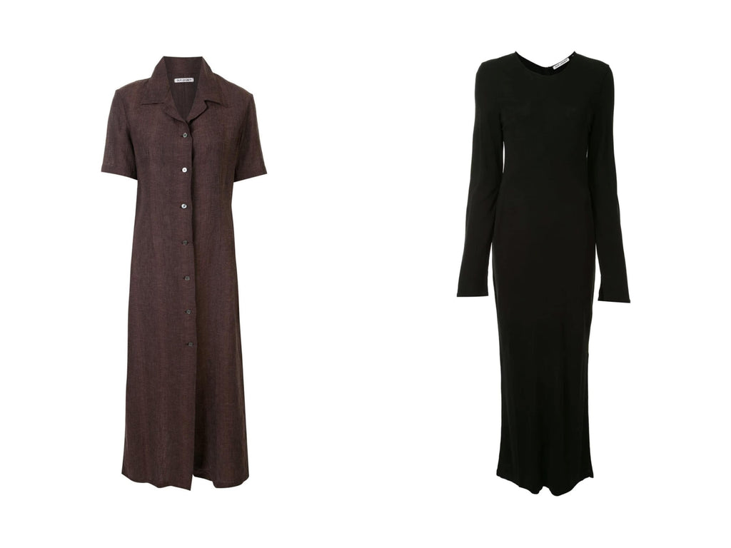Manifesto Our Legacy BROWN NARROW SHIRT DRESS BLACK RIB LONG SLEEVE DRESS