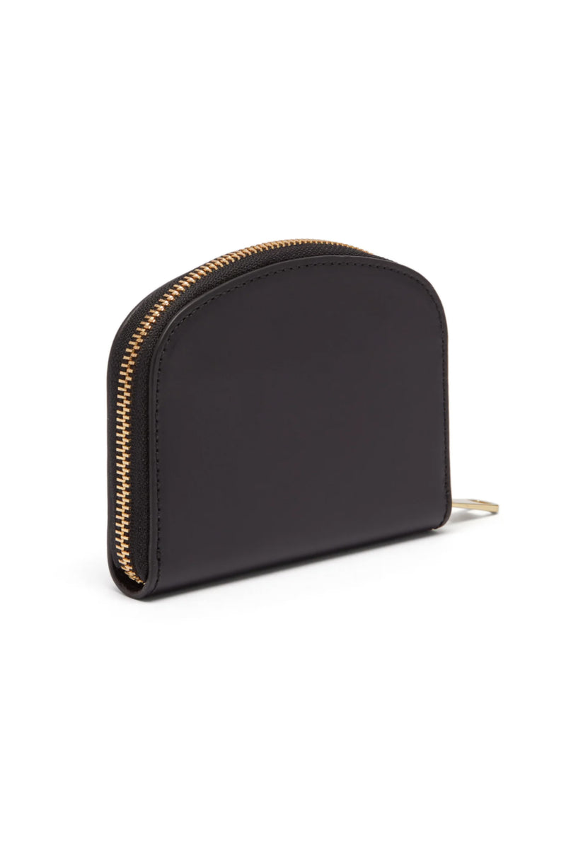Black Saffiano Halfmoon Zip Purse