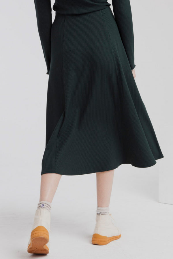 Scarab Green Mae Long Rib Skirt