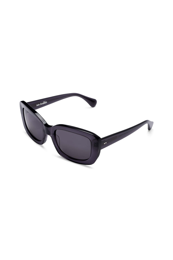 Manifesto Shop Sun Buddies Junior Grey Sunglasses Rounded Rectangular Frame Tinted Lens Side View