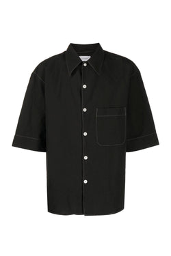 Black Contrast Stitch Convertible Shirt