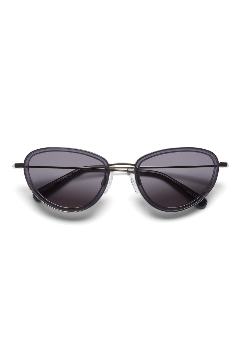 Manifesto Shop Sun Buddies Left Eye Clear Grey Sunglasses Small Round Frame Tinted Lens Front View