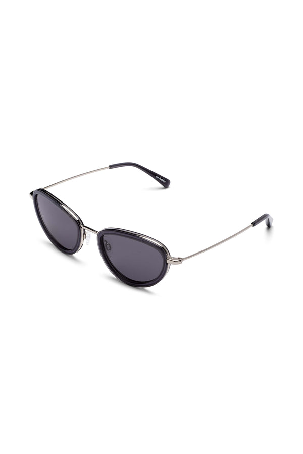 Manifesto Shop Sun Buddies Left Eye Clear Grey Sunglasses Small Round Frame Tinted Lens Side View