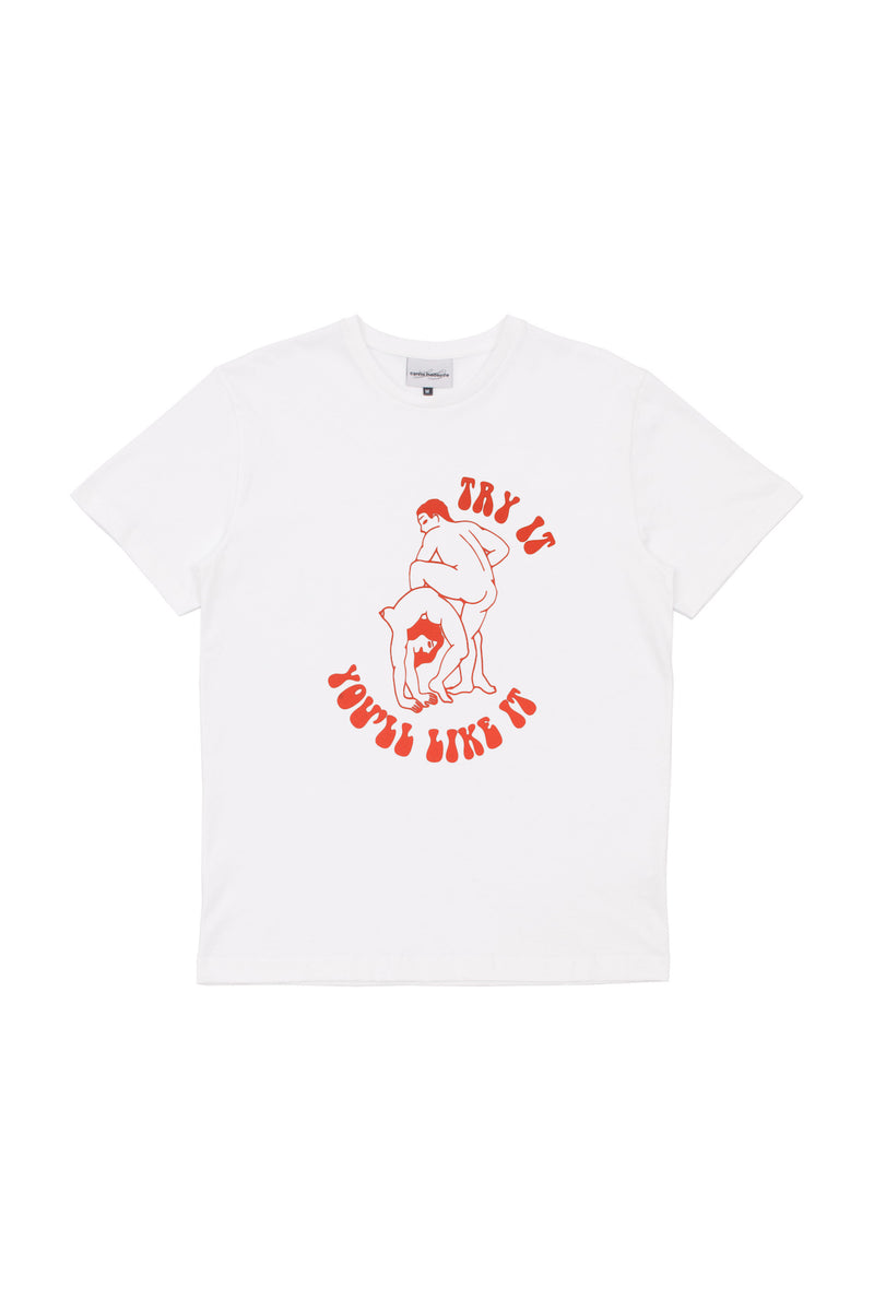 Manifesto Shop Singapore Carne Bollente Try It Tshirt White Sexual Positivity