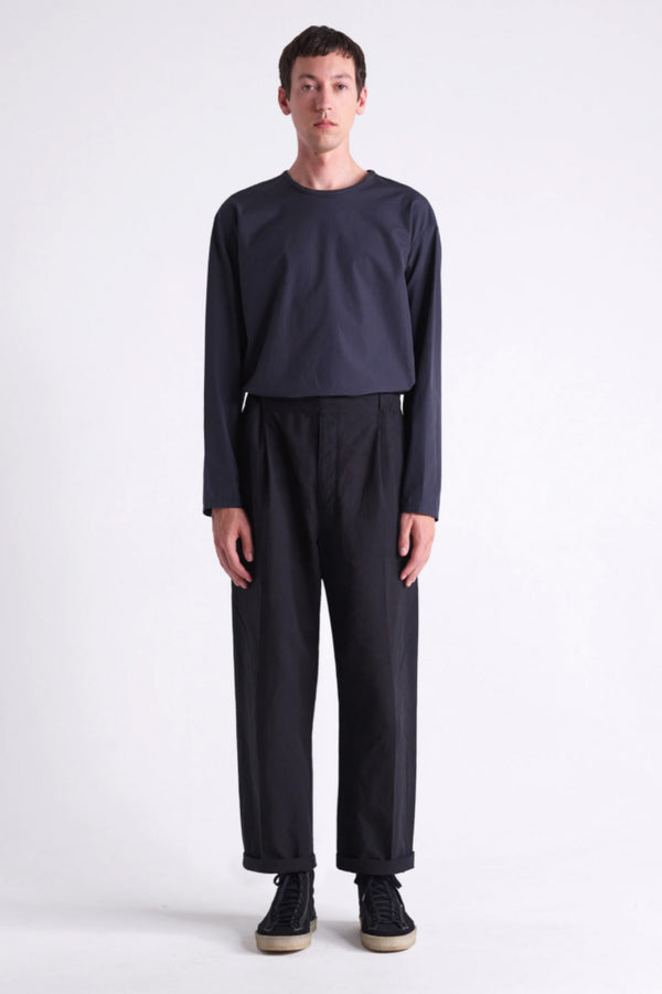 Black Pleated Drawstring Pants