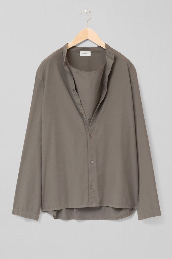 Dark Ash Grey Long Sleeve Blouse Top