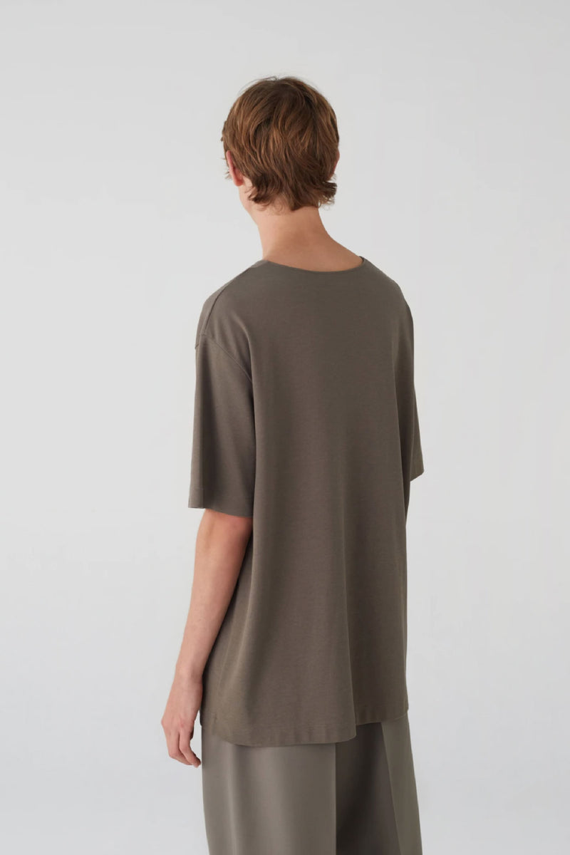Granite Grey Chinese Crepe T-Shirt