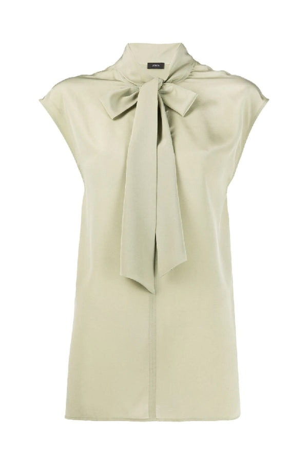 Nancy Sage Sleeveless Tied Blouse