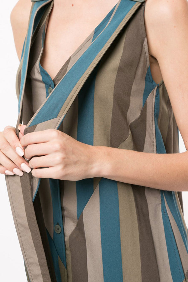 Khaki Buttoned Camisole Dress