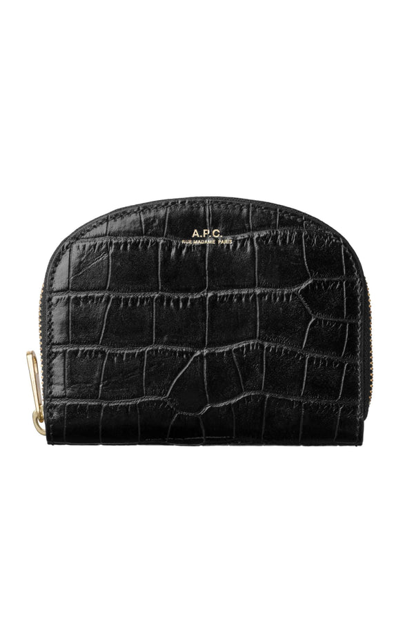 Black Croc Half-moon Coin Purse