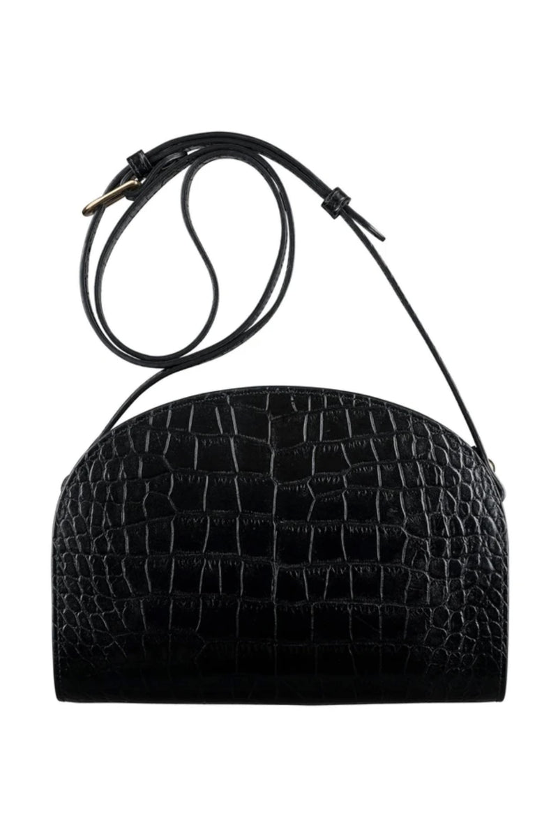Black Croc Half-moon Bag