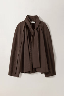 Dark Brown Silk Tie Blouse