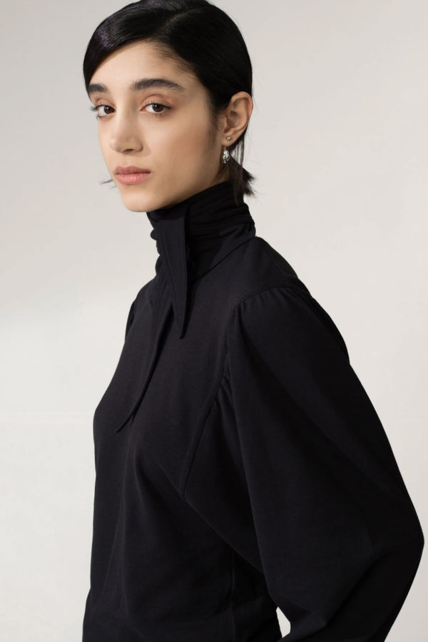 Black Foulard Blouse