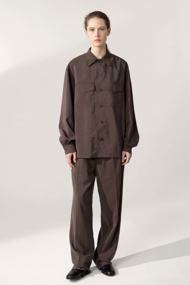 Dark Brown Convertible Collar Shirt