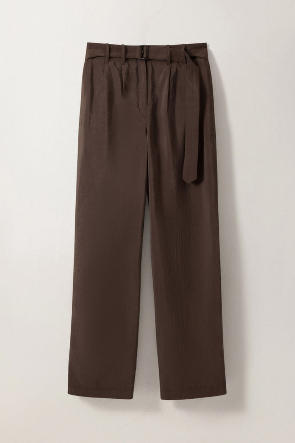 Dark Brown Silk Loose Pants