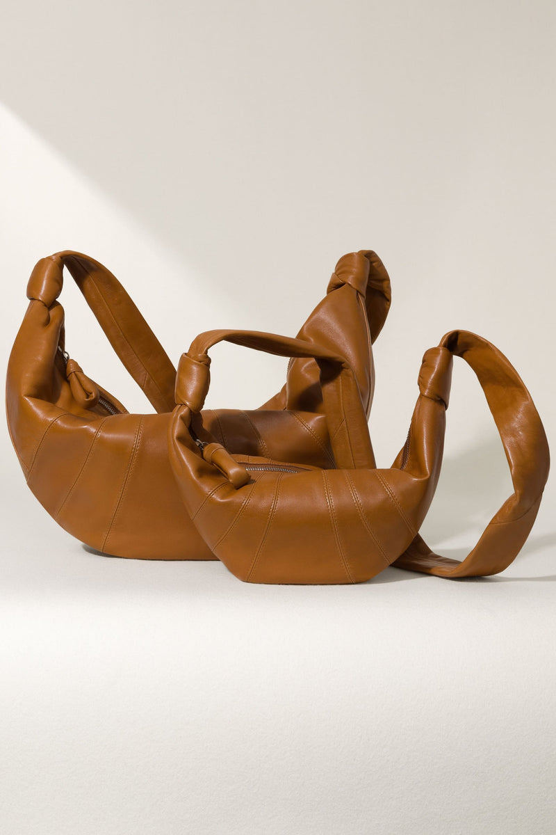 Tobacco Small Leather Croissant Bag