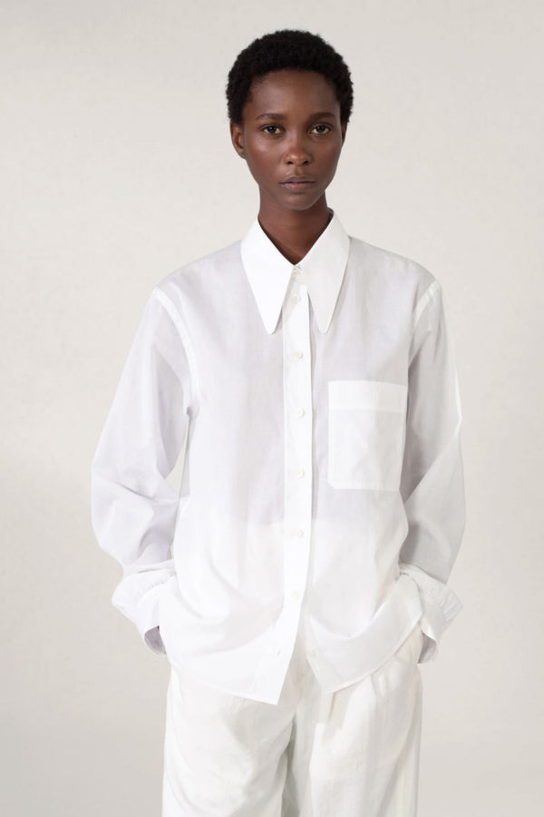 White Pointed Collar Shirt
