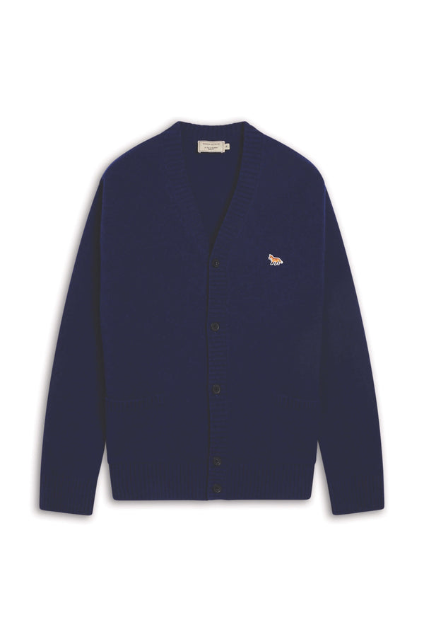 Navy Profile Fox Lambswool Cardigan