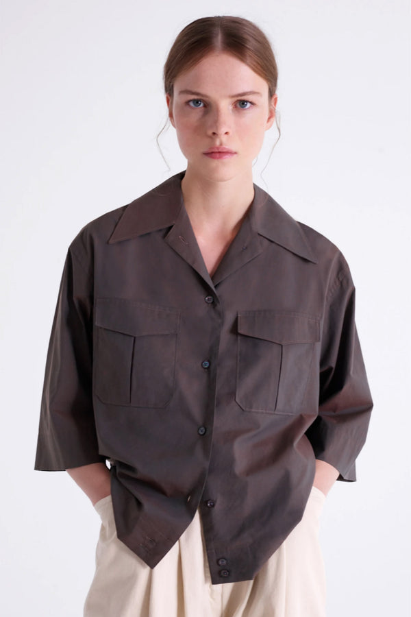 Coffee Cotton Poplin Shirt