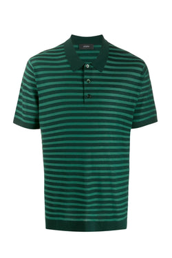 Green Stripe Merinos Wool Polo