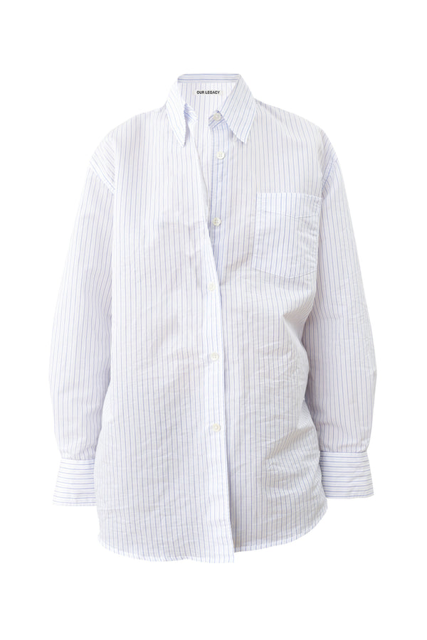 Crinkled Blue Stripe Lend Shirt