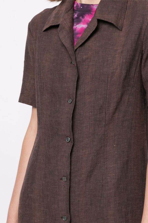 Brown Narrow Shirt Dress