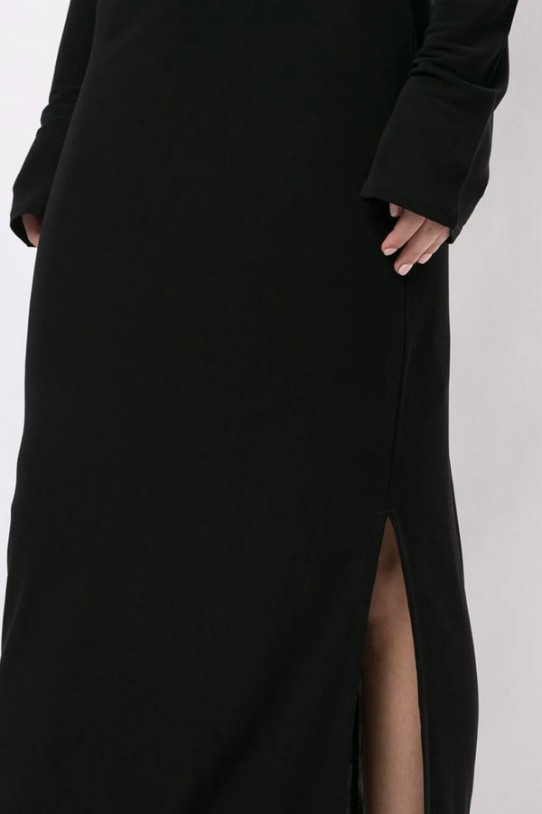 Black Rib Long Sleeve Dress
