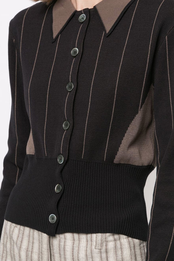 Dark Stripe Polo Cardigan