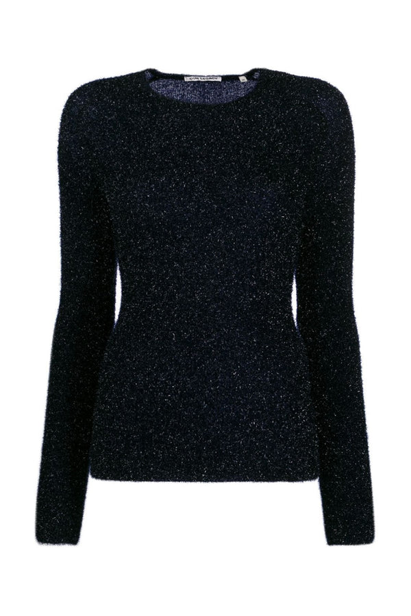 Navy Glitter Slim Knit