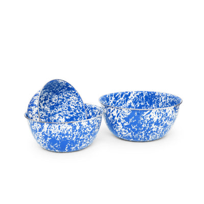 3 Piece Blue Marble Mixing Bowls