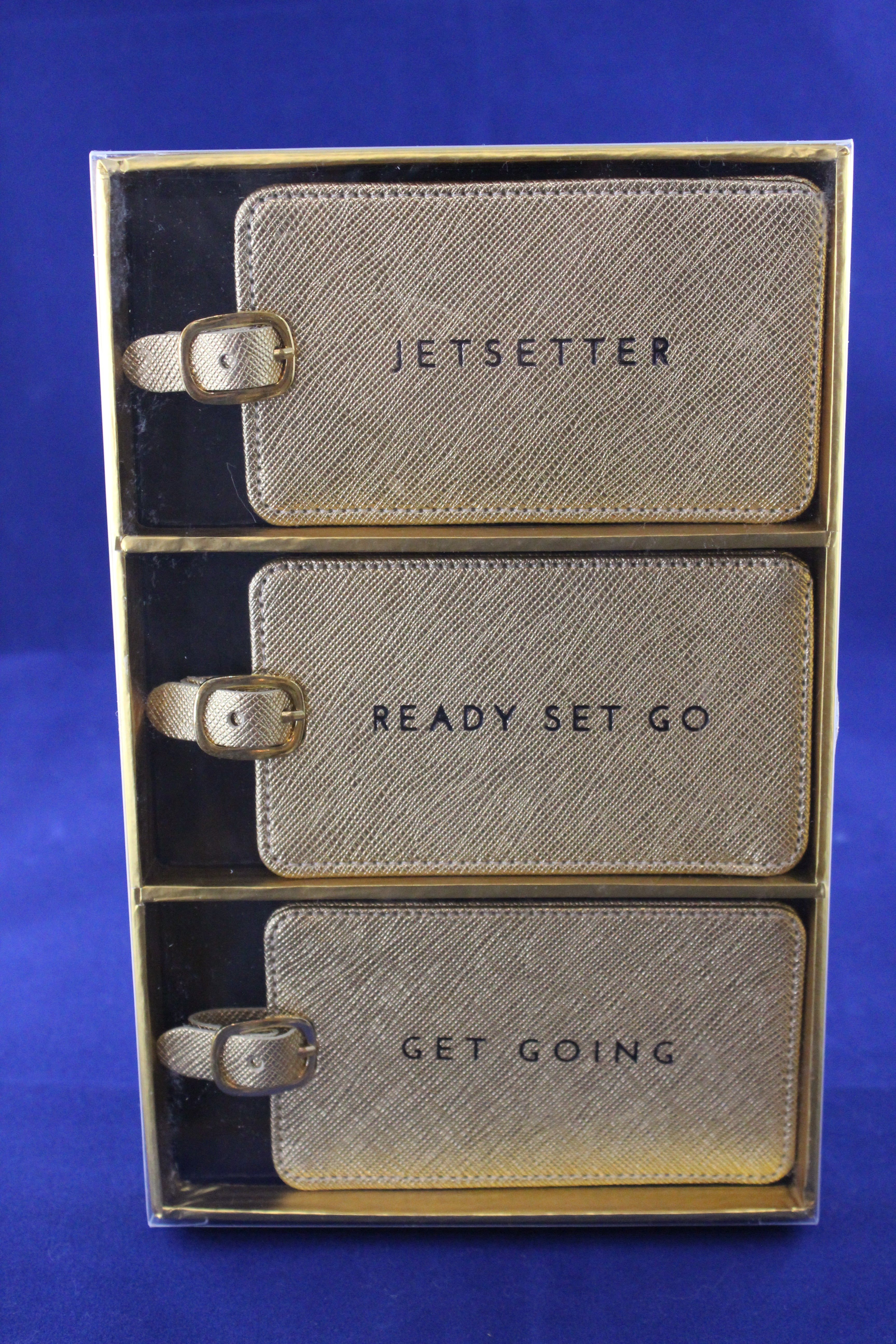 Gold Shimmer Luggage Tags/Set 3