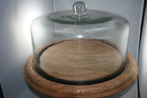 Carved Cake Platter with Dome