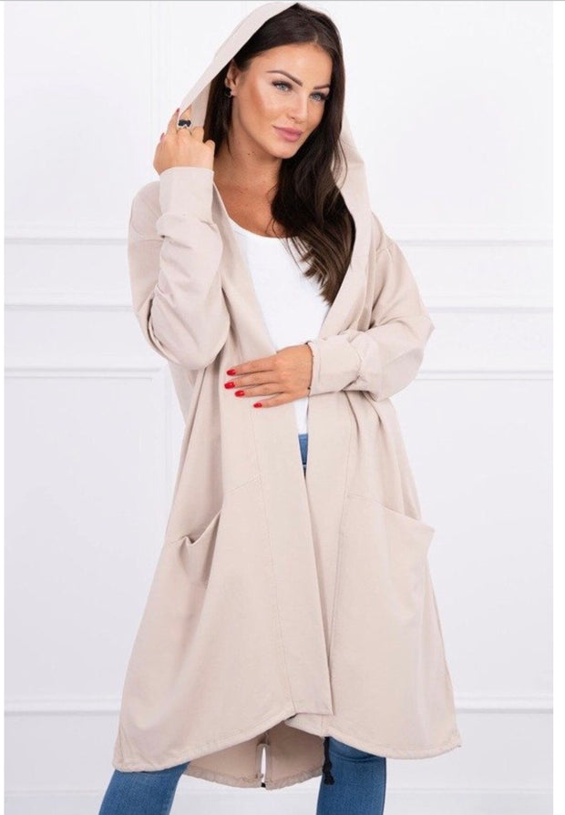 Kylie Hooded Cape, Beige