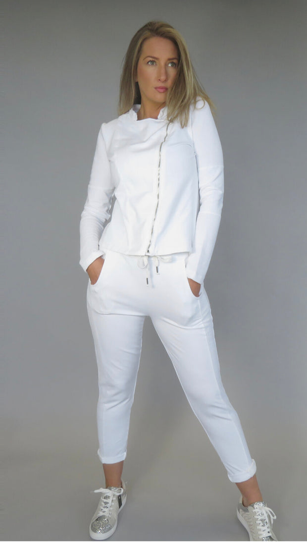 Deck Jersey Biker Jacket, White