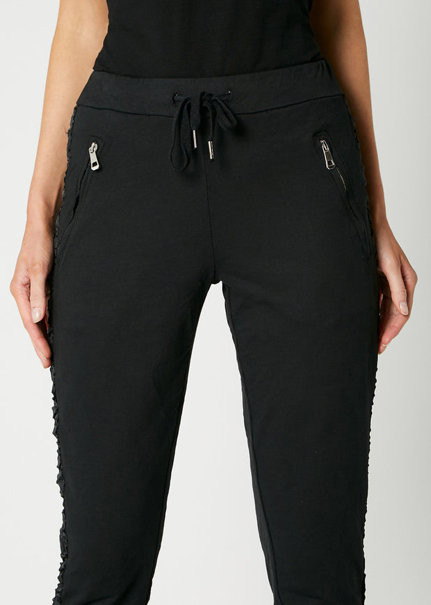 Deck Side Stripe Joggers, Black