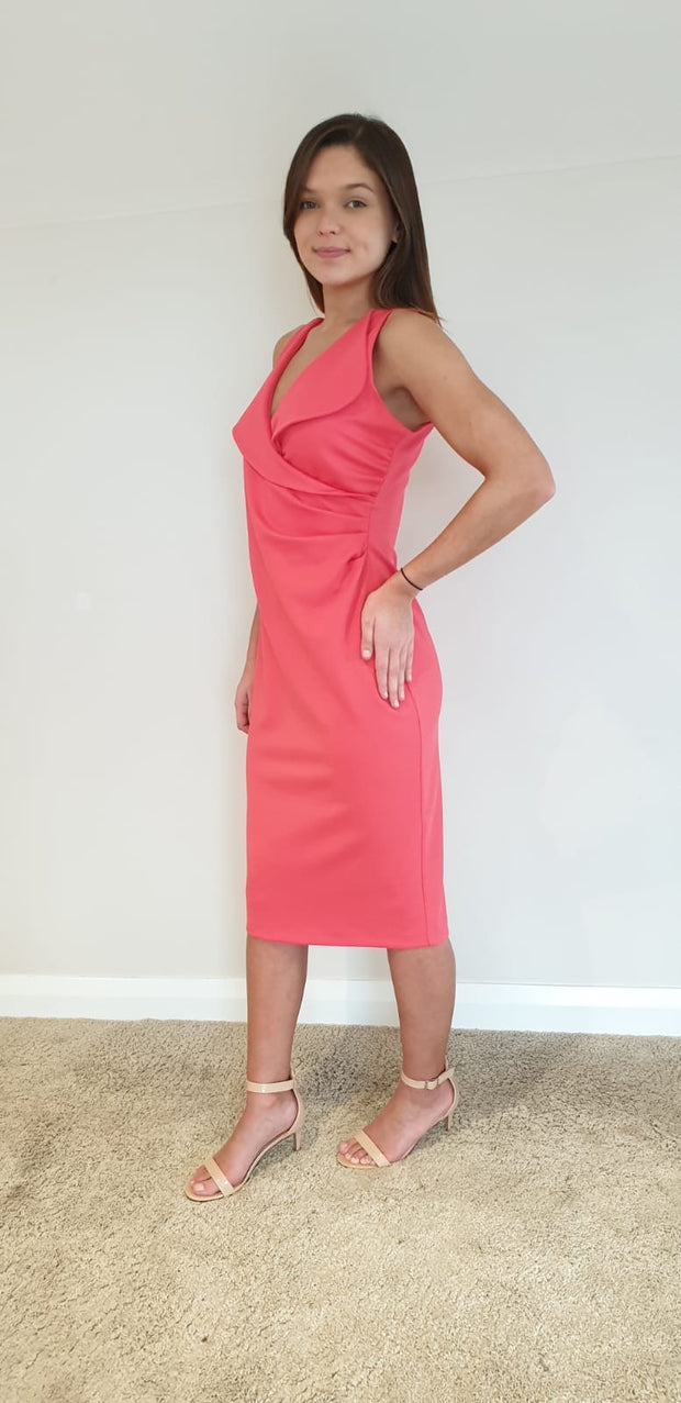 Casting Coral Wrap Effect Dress