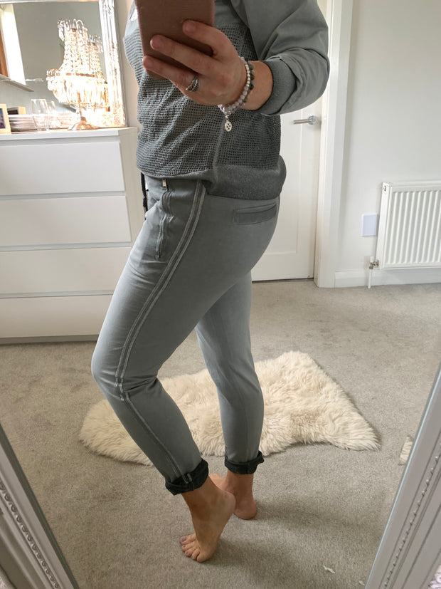 Deck Silver Stripe Joggers , Grey
