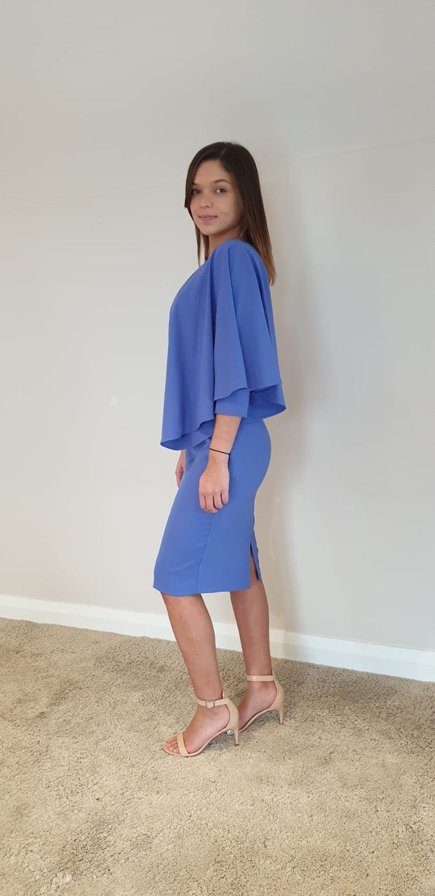 Casting Cape Dress, Powder blue