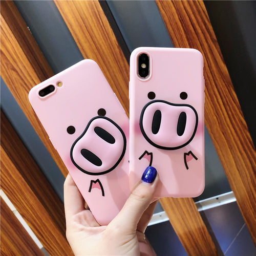 Squishy Cute Cartoon Pig Phone Case For iPhone