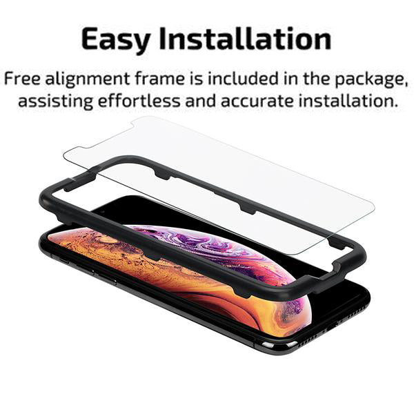 Easy Install Tempered Glass Screen Protector (2 Pack) for iPhone X / XS - Includes FREE alignment frame