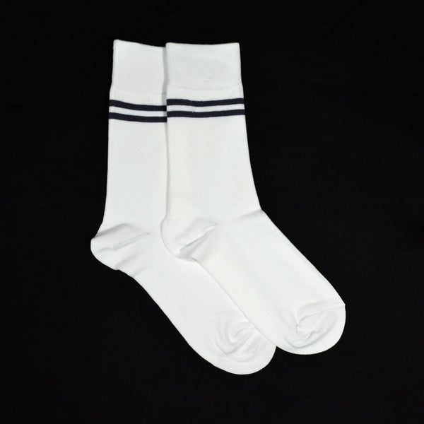 Mustang Socks - White with Grey Strips (Single)
