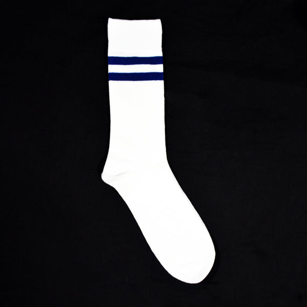 Mustang Socks - White with Navy Strips (Single)