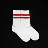 Mustang Socks - White with Red Strips (Single)