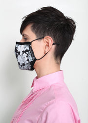 Face Mask - Monochrome Roses/Pinstripe