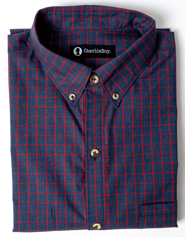 Navy Red Check