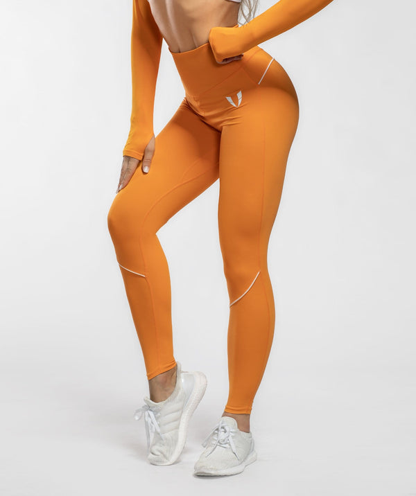 Honeypeach Vital Leggings - Orange - Firm Abs Fitness