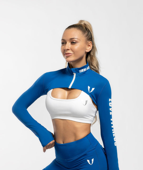 Zip Up Long Sleeve Extreme Crop Top - Blue - Firm Abs Fitness