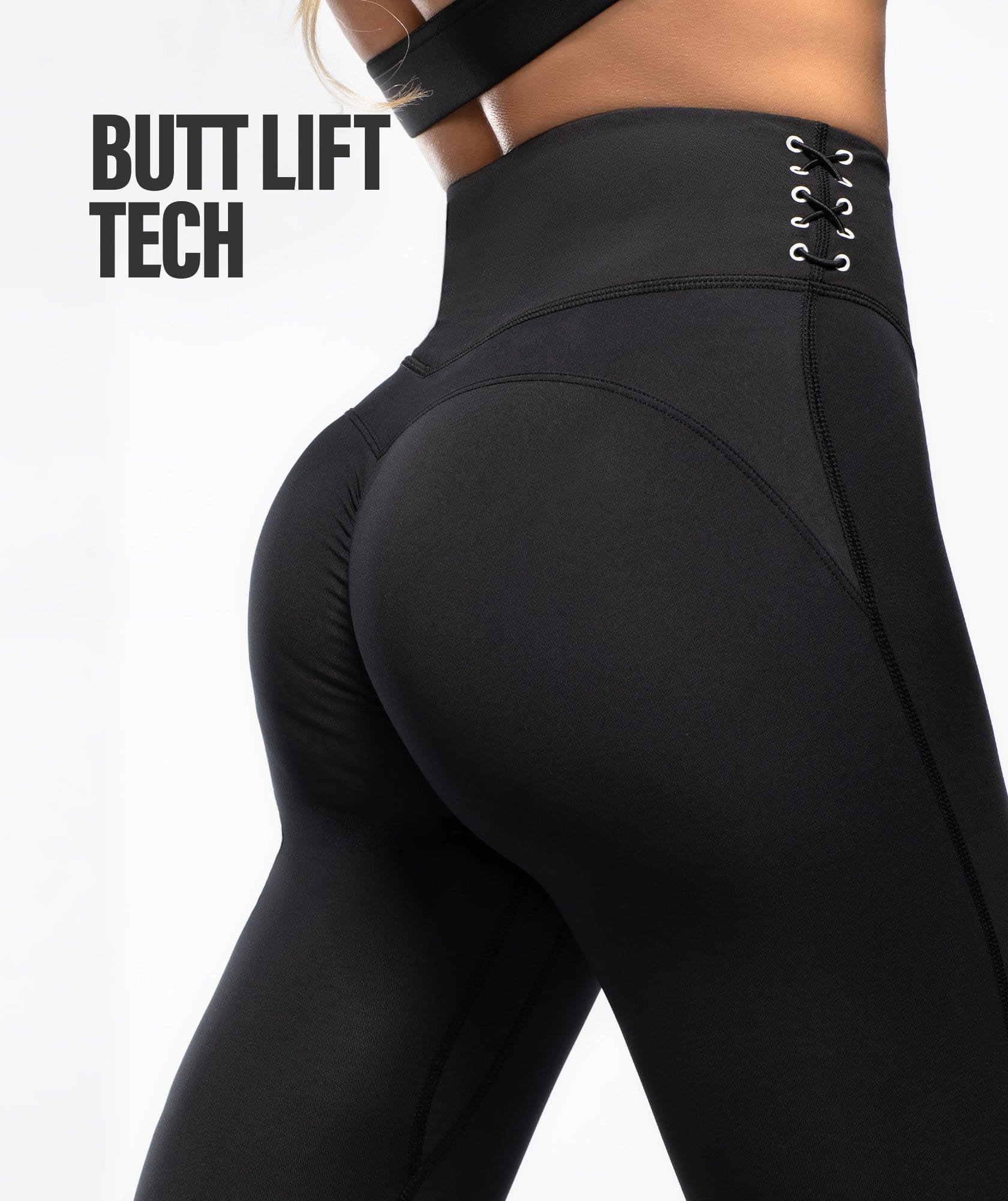 Honeypeach Cropped Leggings - Black - Firm Abs Fitness