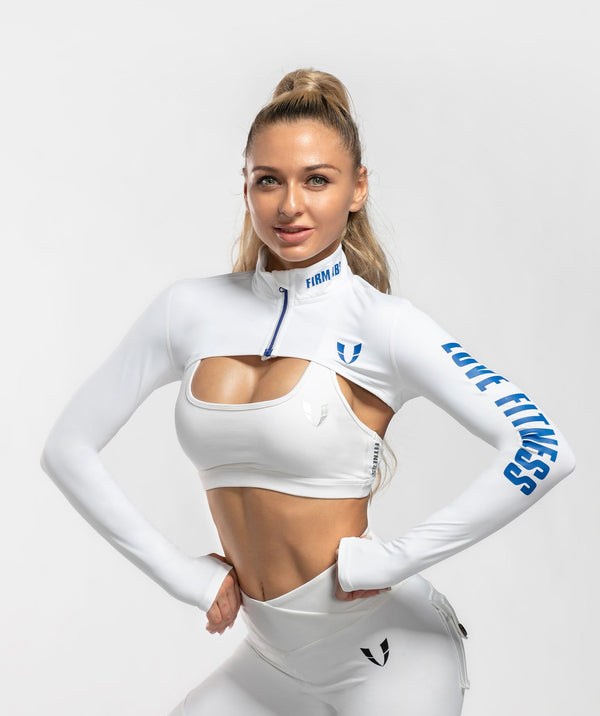 Zip Up Long Sleeve Extreme Crop Top - White - Firm Abs Fitness