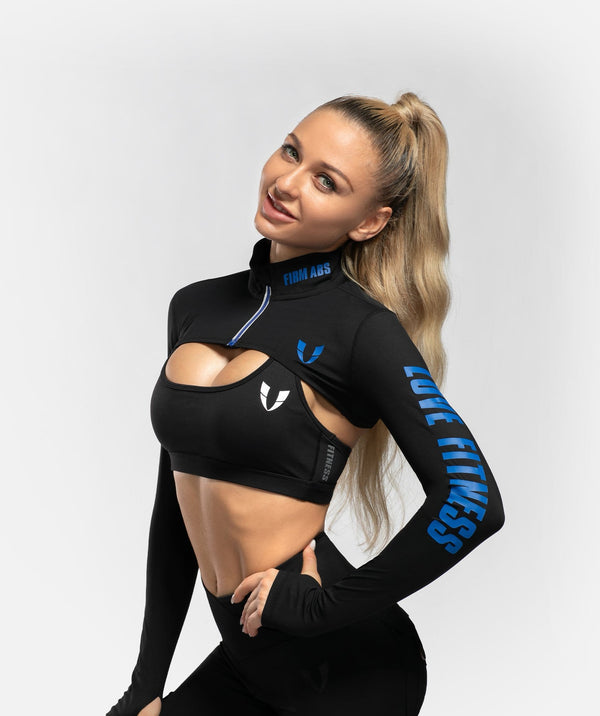 Zip Up Long Sleeve Extreme Crop Top - Black - Firm Abs Fitness